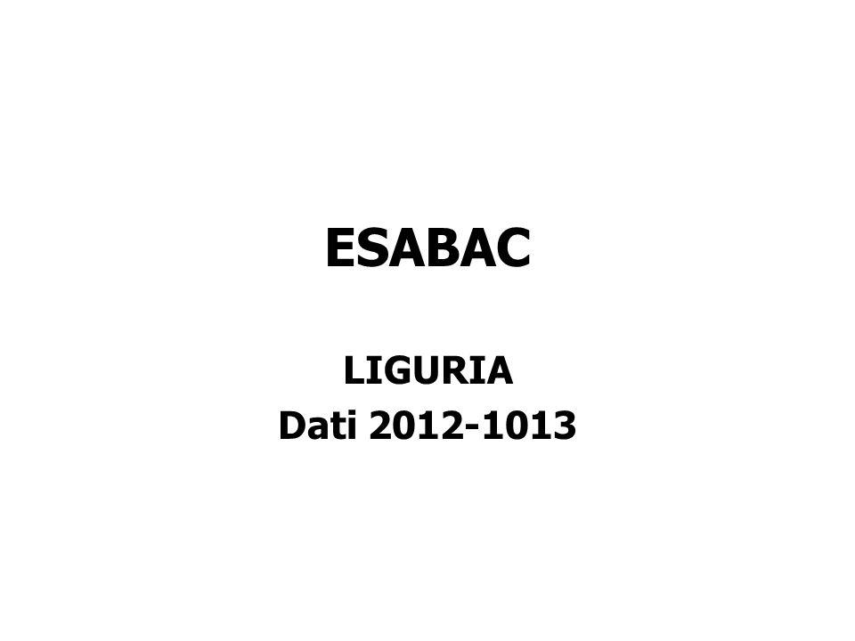 ESABAC LIGURIA Dati 2012-1013