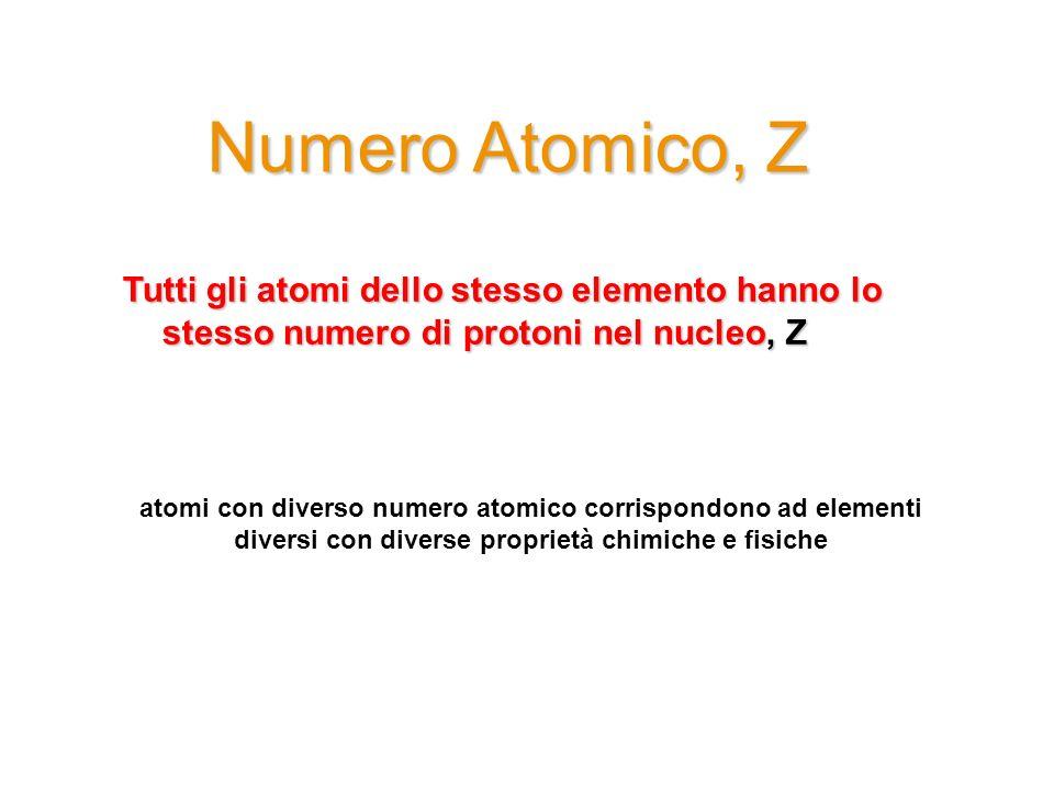 Numero Atomico, Z Tutti gli atomi dello stesso elemento hanno lo stesso numero di protoni nel nucleo, Z.