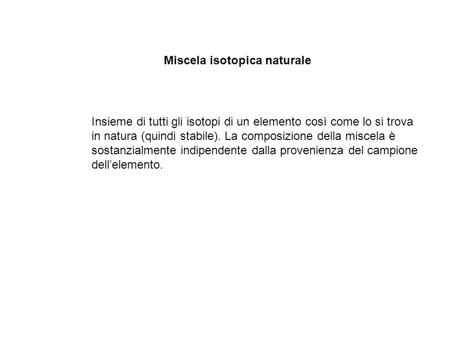 Miscela isotopica naturale