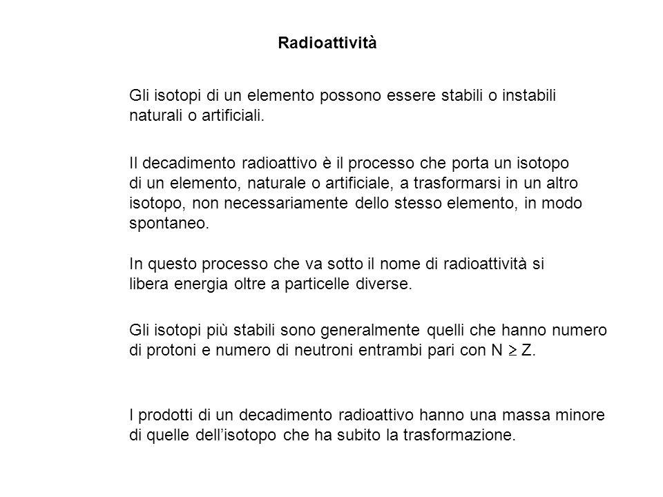 Radioattività Gli isotopi di un elemento possono essere stabili o instabili. naturali o artificiali.