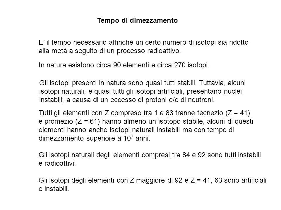 Tempo di dimezzamento E' il tempo necessario affinchè un certo numero di isotopi sia ridotto. alla metà a seguito di un processo radioattivo.