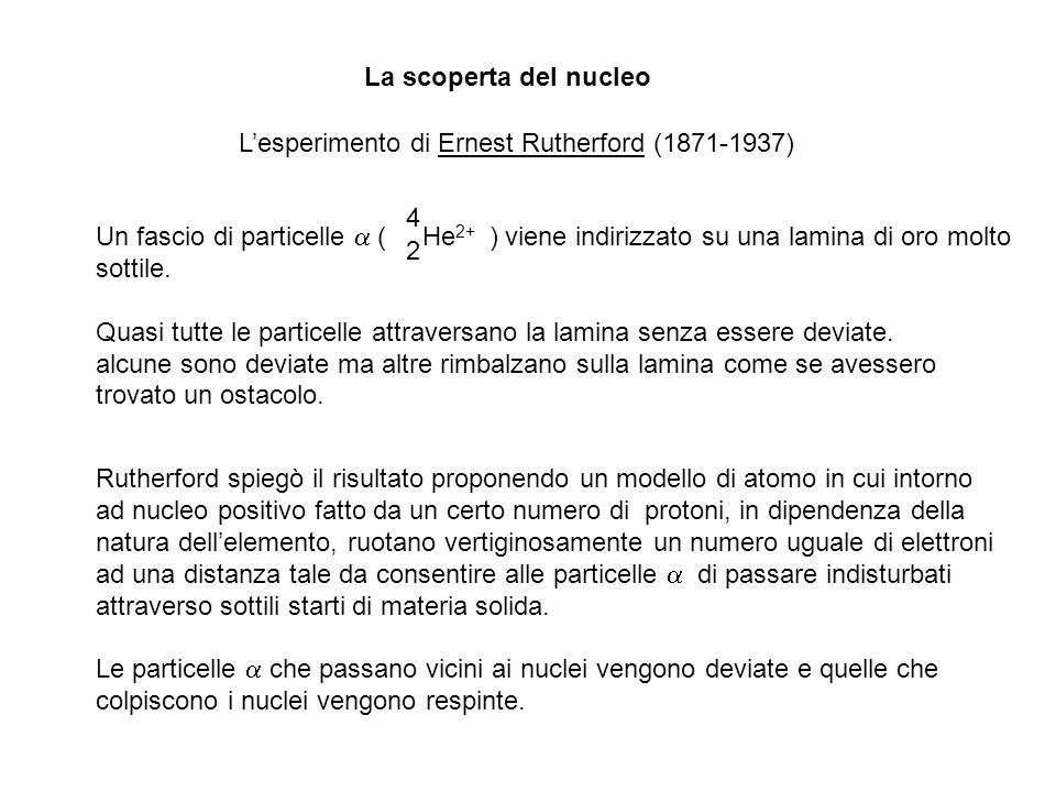 La scoperta del nucleo L'esperimento di Ernest Rutherford (1871-1937) He2+ 4. 2.