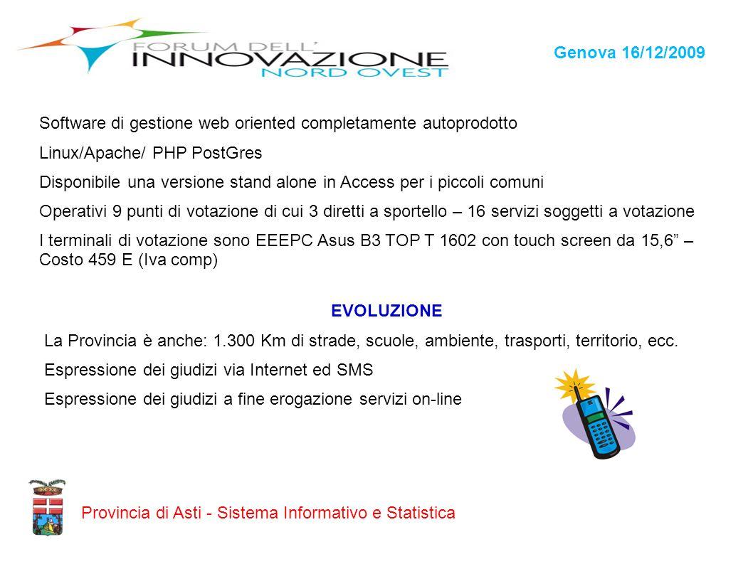 Genova 16/12/2009Software di gestione web oriented completamente autoprodotto. Linux/Apache/ PHP PostGres.