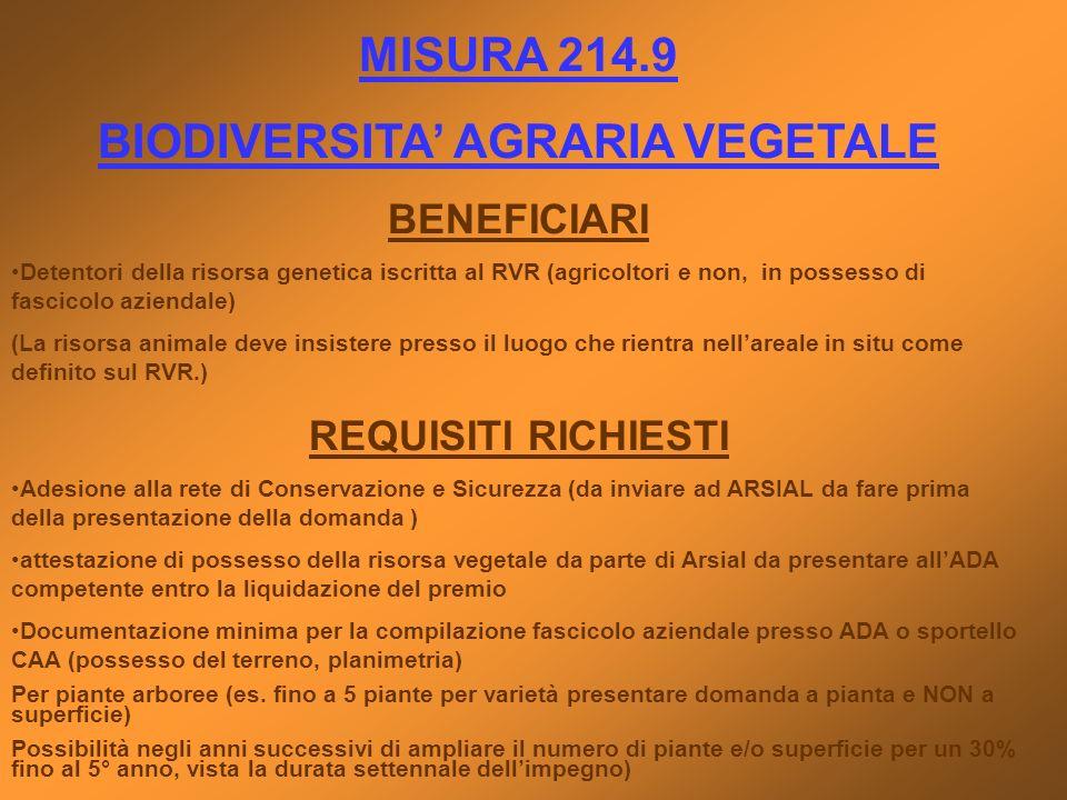 BIODIVERSITA' AGRARIA VEGETALE