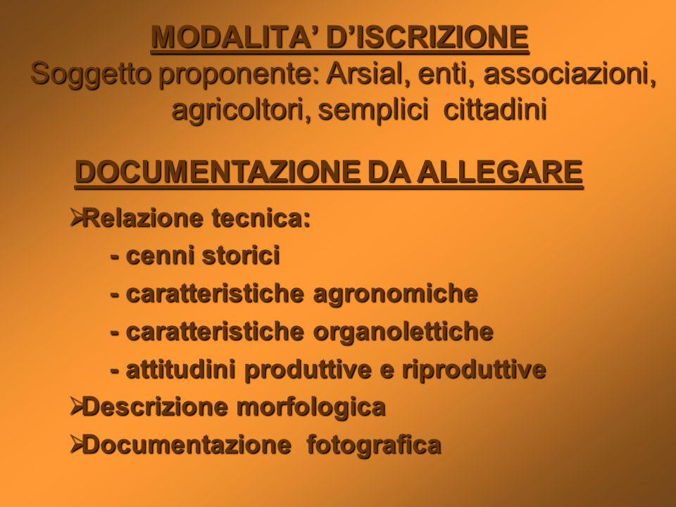 MODALITA' D'ISCRIZIONE DOCUMENTAZIONE DA ALLEGARE