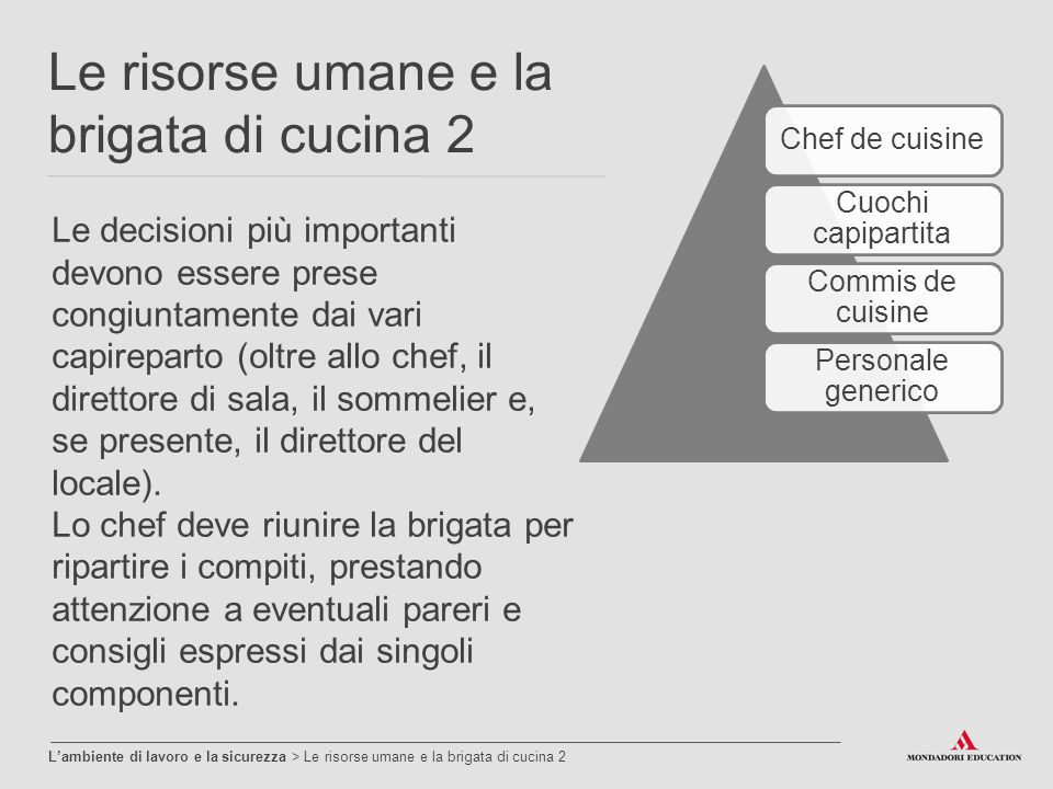 L ambiente di lavoro e la sicurezza ppt video online for Commis di cucina stipendio