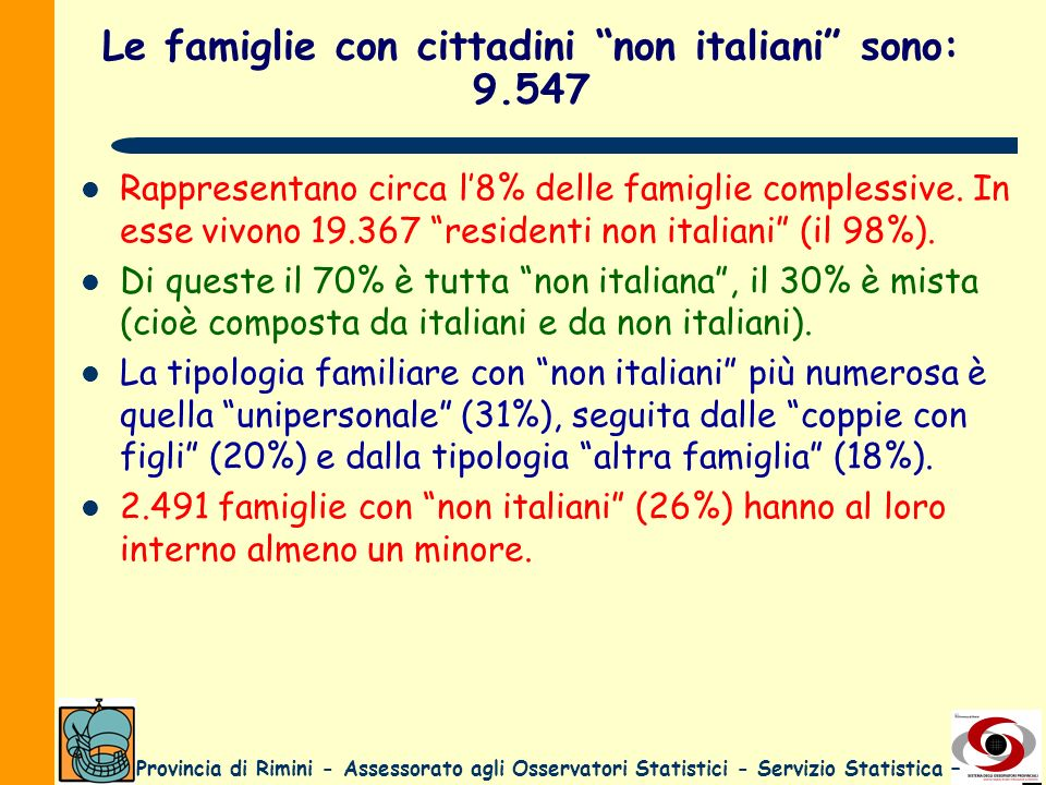 Le famiglie con cittadini non italiani sono: 9.547