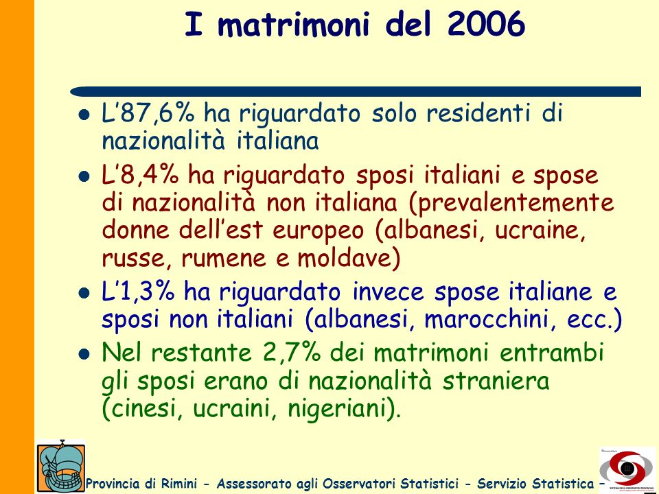 I matrimoni del 2006 L'87,6% ha riguardato solo residenti di nazionalità italiana.