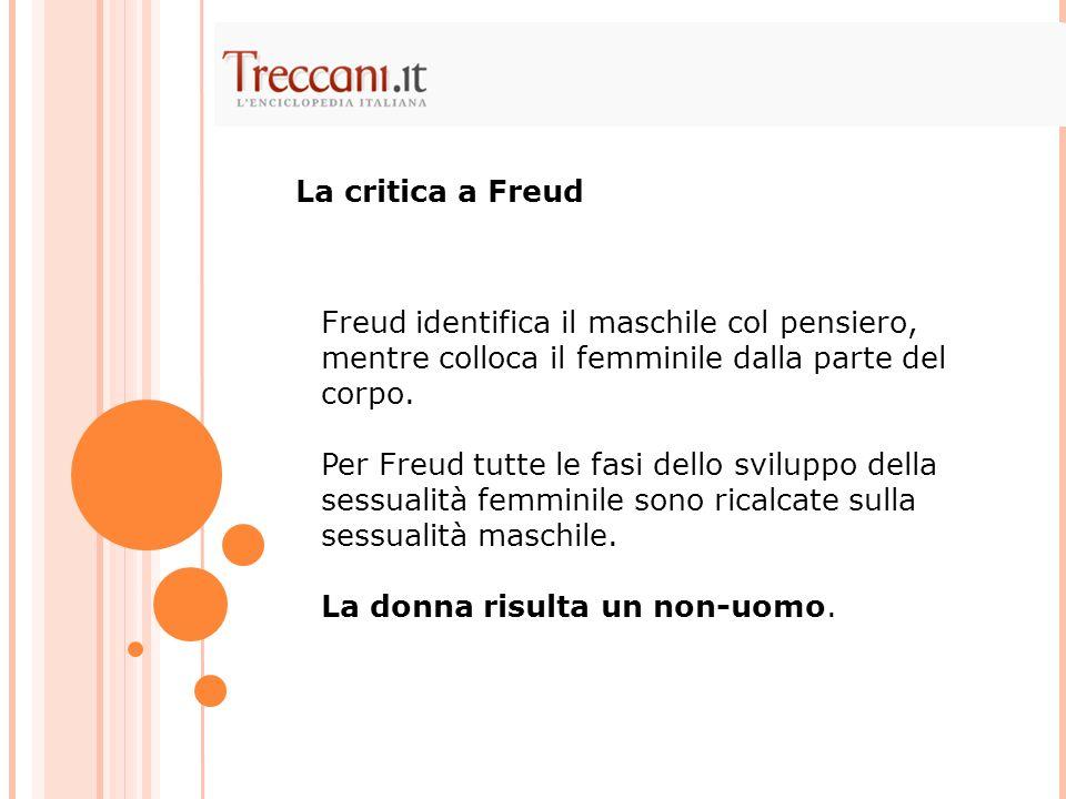 La critica a FreudFreud identifica il maschile col pensiero, mentre colloca il femminile dalla parte del corpo.
