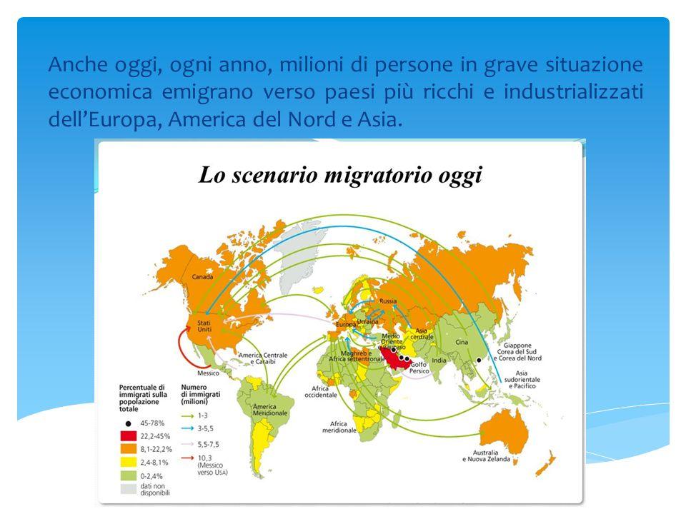 Anche oggi, ogni anno, milioni di persone in grave situazione economica emigrano verso paesi più ricchi e industrializzati dell'Europa, America del Nord e Asia.