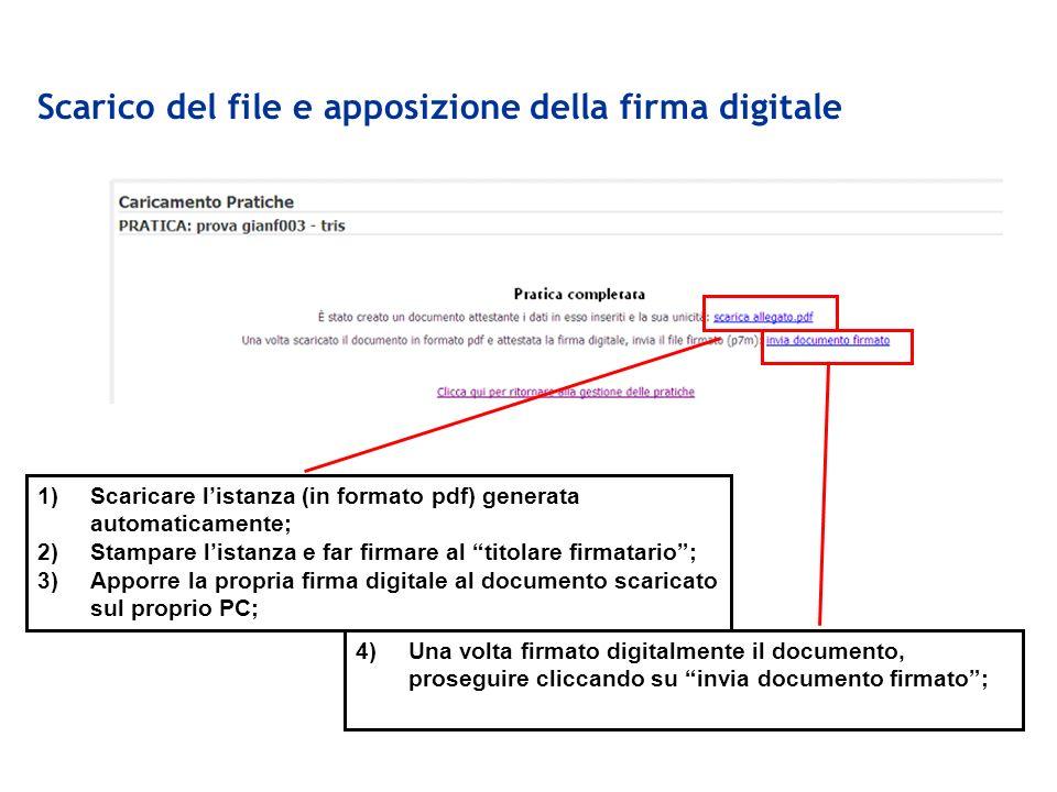 Scarico del file e apposizione della firma digitale