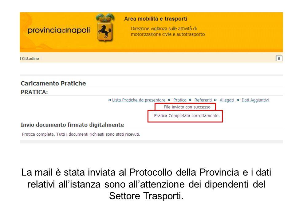 La mail è stata inviata al Protocollo della Provincia e i dati relativi all'istanza sono all'attenzione dei dipendenti del Settore Trasporti.