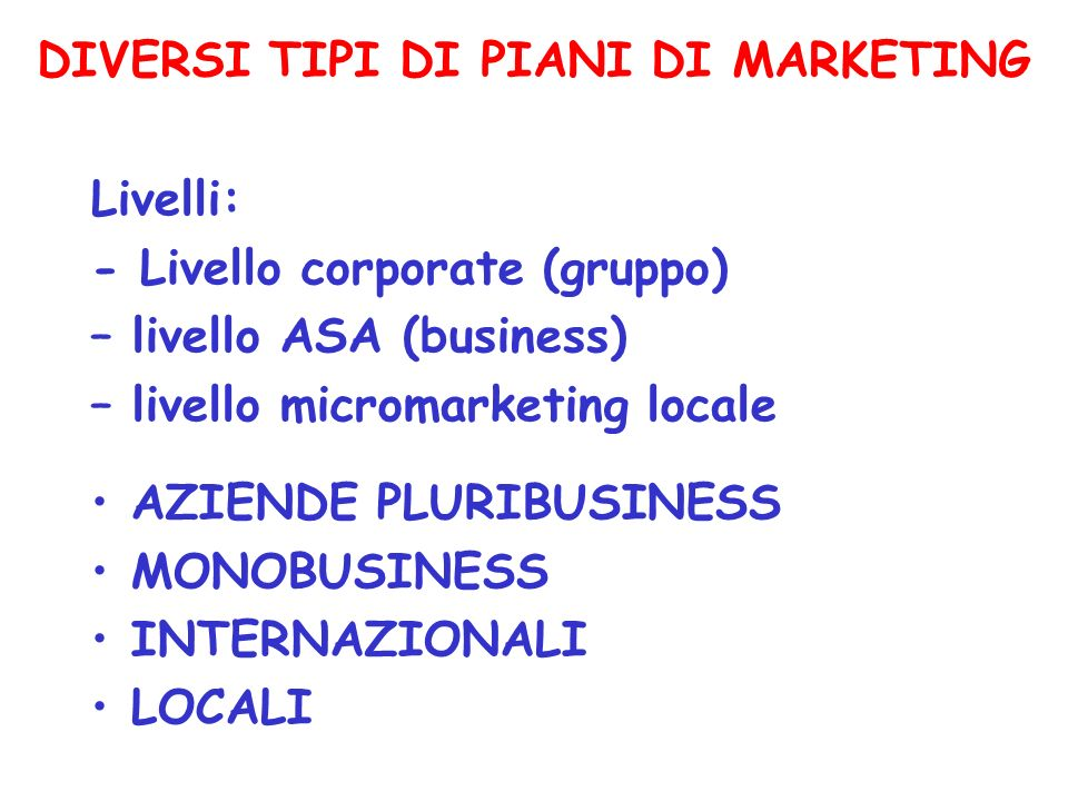 Tratto da marketing in italia di sergio cherubini e for Piani di coperta multi livello