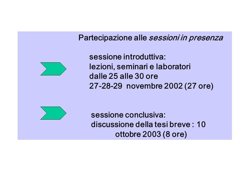 Partecipazione alle sessioni in presenza