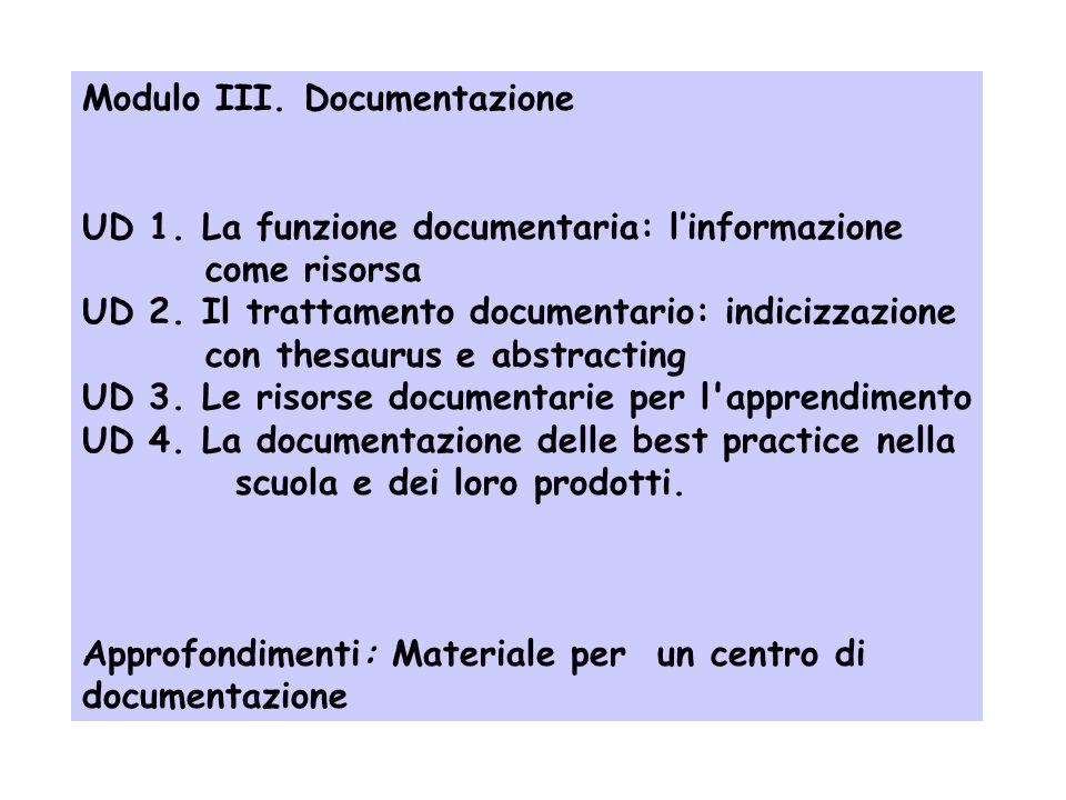 Modulo III. Documentazione