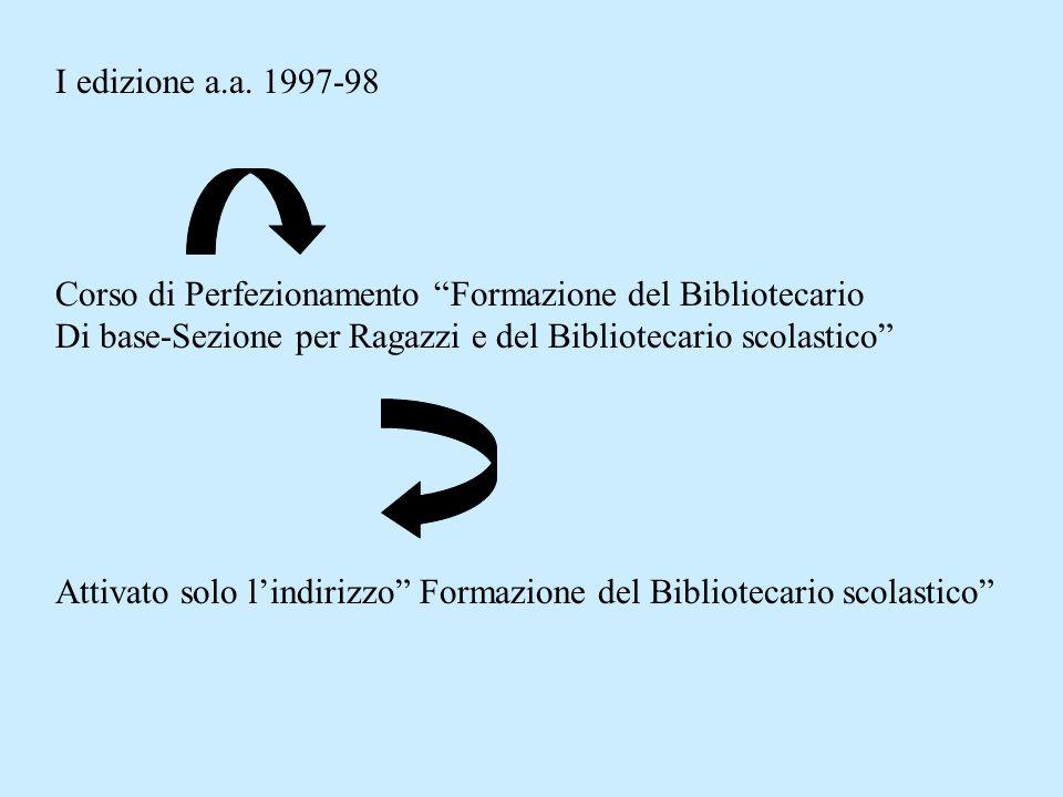 I edizione a.a. 1997-98 Corso di Perfezionamento Formazione del Bibliotecario. Di base-Sezione per Ragazzi e del Bibliotecario scolastico
