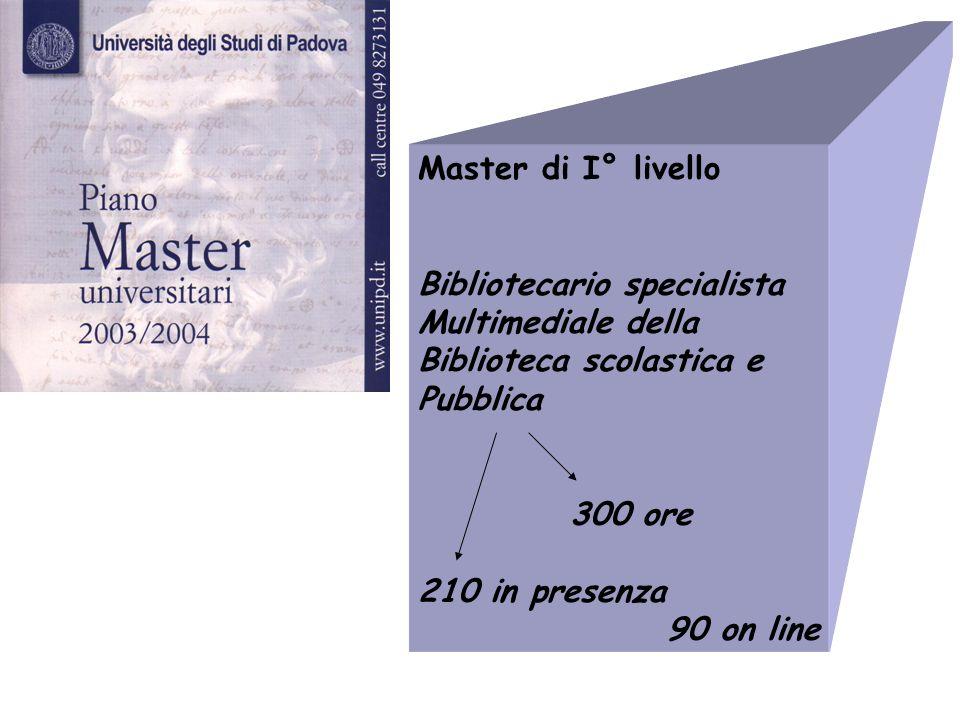 Master di I° livelloBibliotecario specialista. Multimediale della. Biblioteca scolastica e. Pubblica.