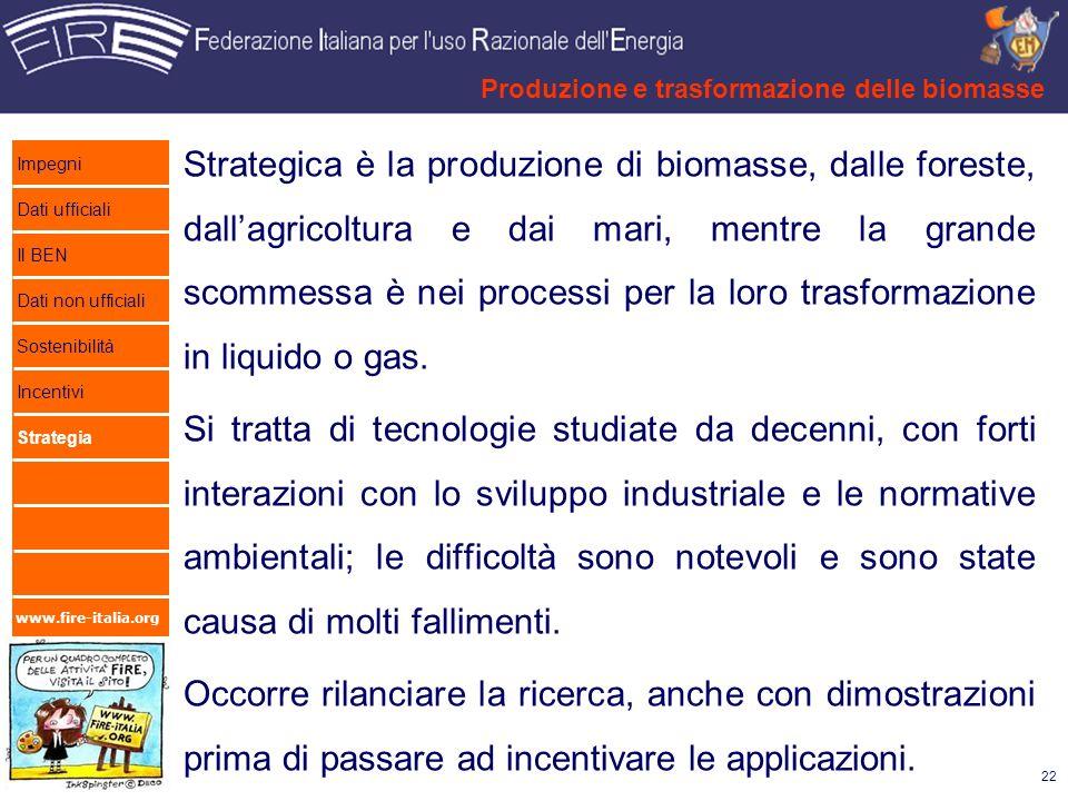 Produzione e trasformazione delle biomasse