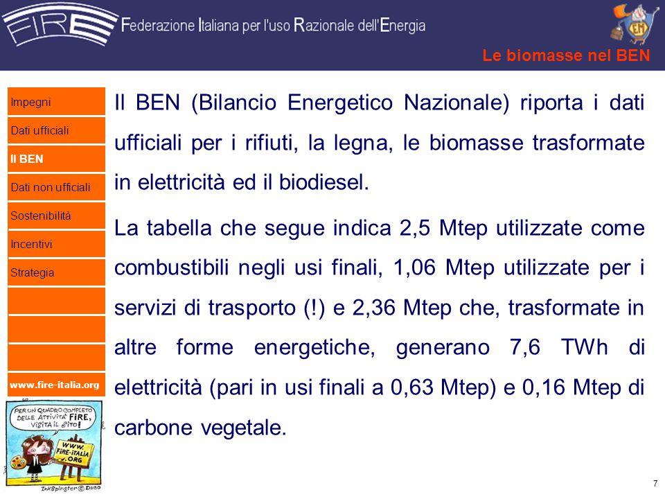 Le biomasse nel BEN