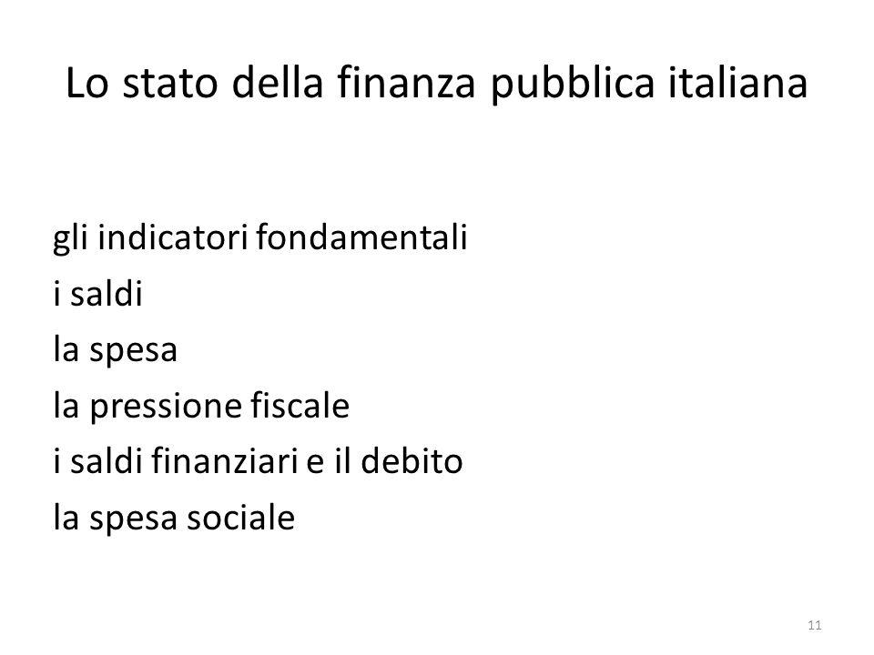 Lo stato della finanza pubblica italiana