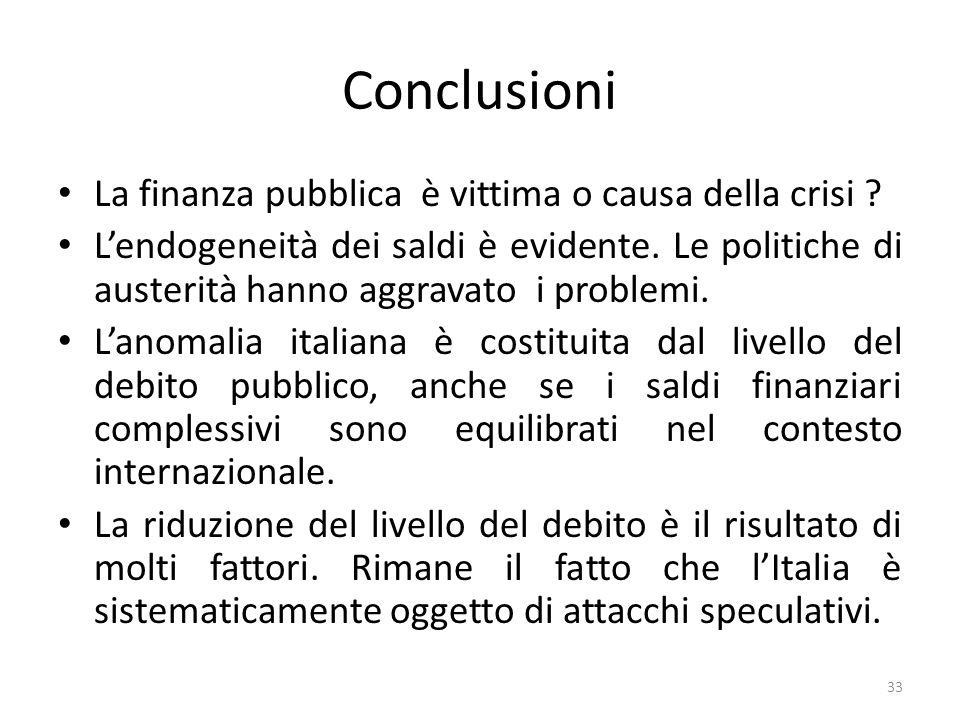 Conclusioni La finanza pubblica è vittima o causa della crisi