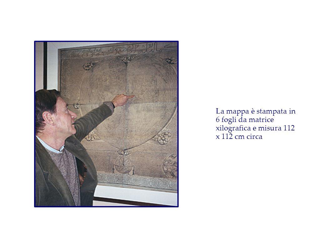 La mappa è stampata in 6 fogli da matrice xilografica e misura 112 x 112 cm circa