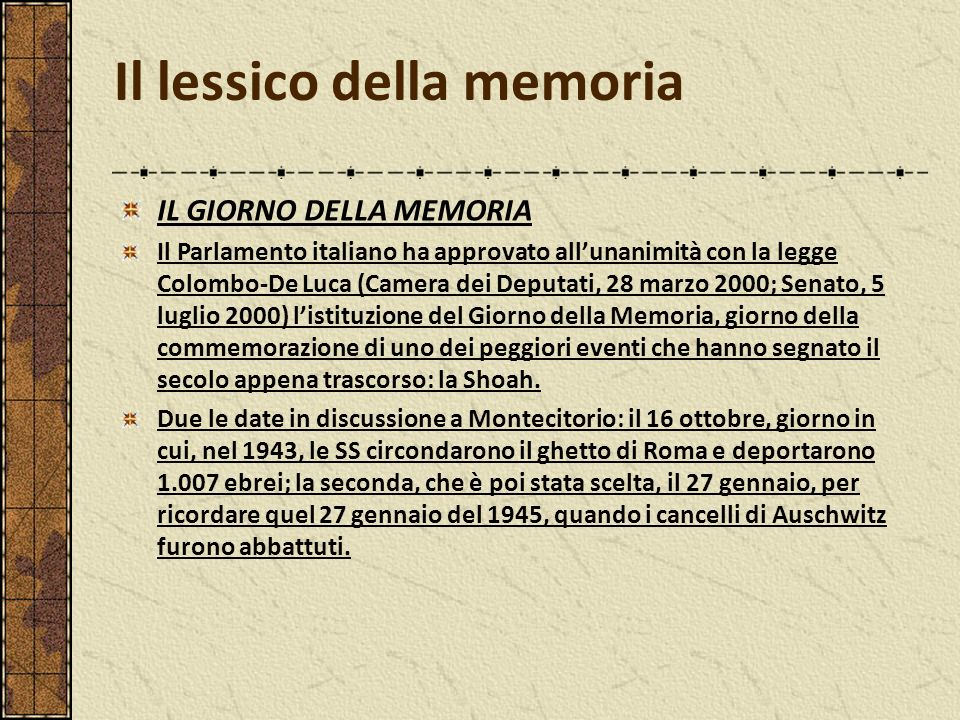 Il lessico della memoria ppt video online scaricare for Camera dei deputati on line