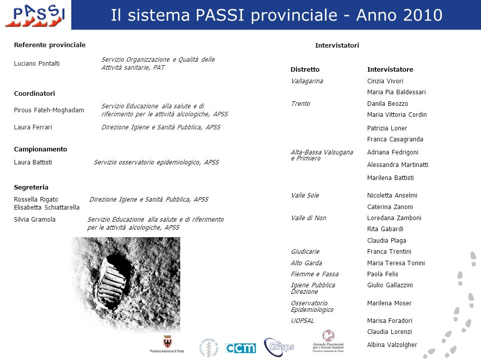 Il sistema PASSI provinciale - Anno 2010