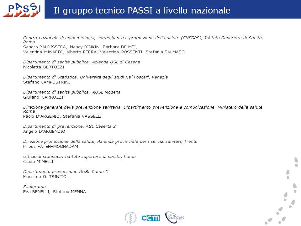 Il gruppo tecnico PASSI a livello nazionale