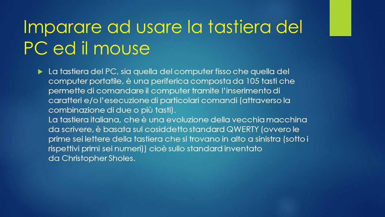 imparare ad usare la tastiera del pc ed il mouse ppt