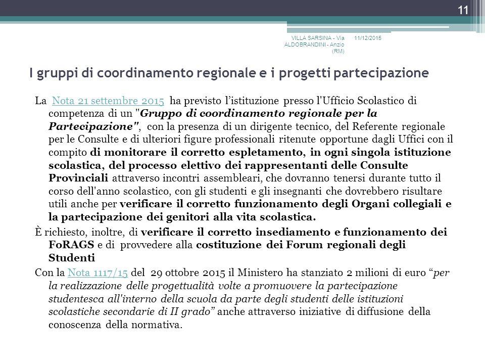 I gruppi di coordinamento regionale e i progetti partecipazione