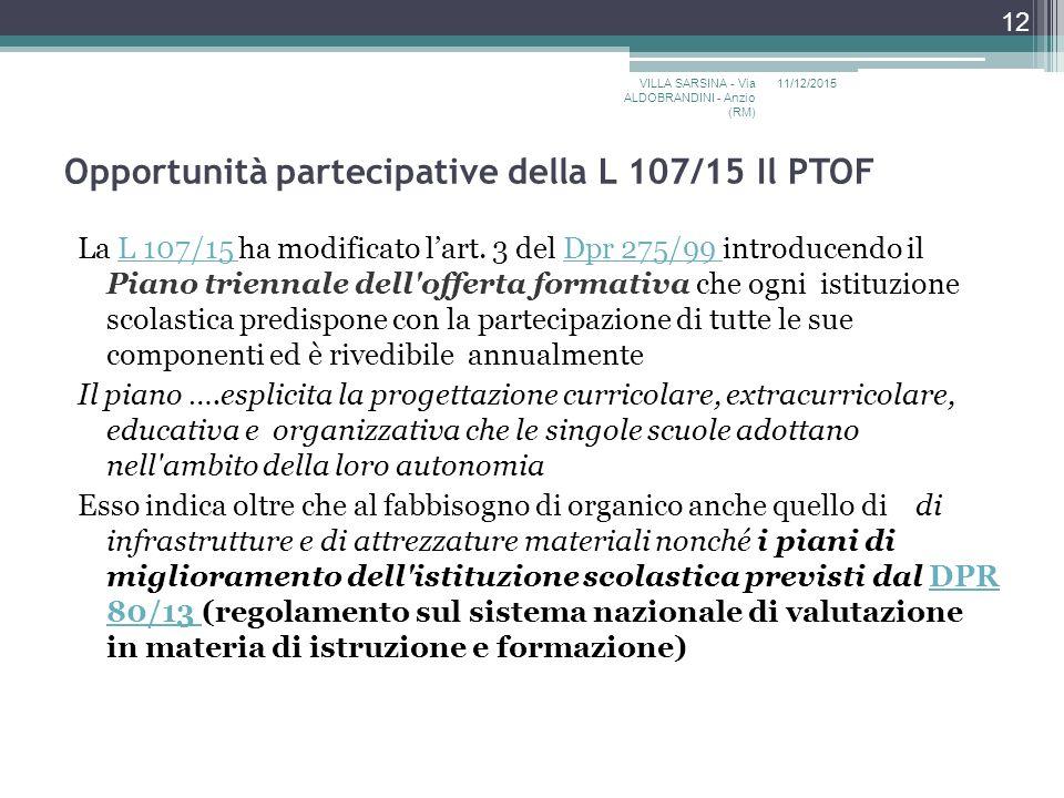 Opportunità partecipative della L 107/15 Il PTOF