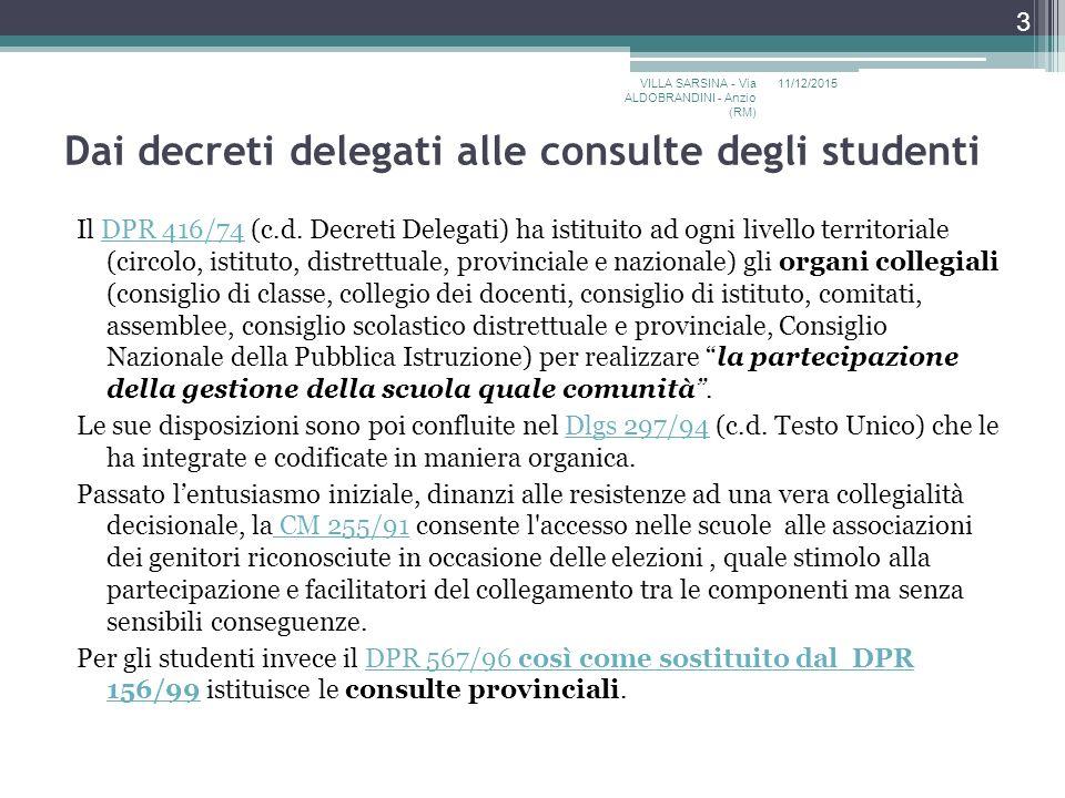 Dai decreti delegati alle consulte degli studenti