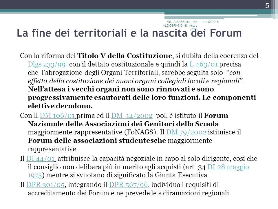 La fine dei territoriali e la nascita dei Forum