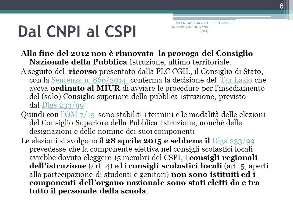 Dal CNPI al CSPI VILLA SARSINA - Via ALDOBRANDINI - Anzio (RM) 11/12/2015.