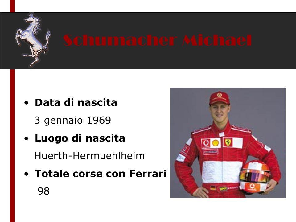 Schumacher Michael Data di nascita 3 gennaio 1969 Luogo di nascita