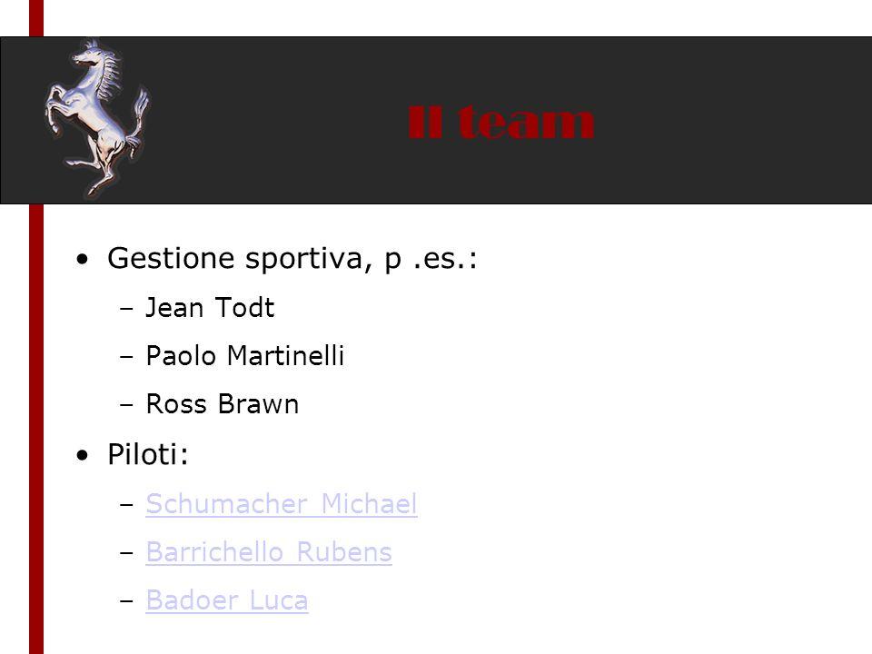 Il team Gestione sportiva, p .es.: Piloti: Jean Todt Paolo Martinelli