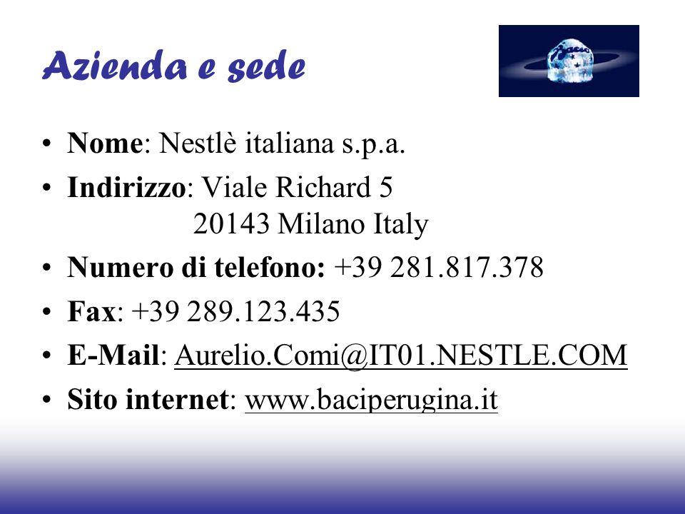 Azienda e sede Nome: Nestlè italiana s.p.a.