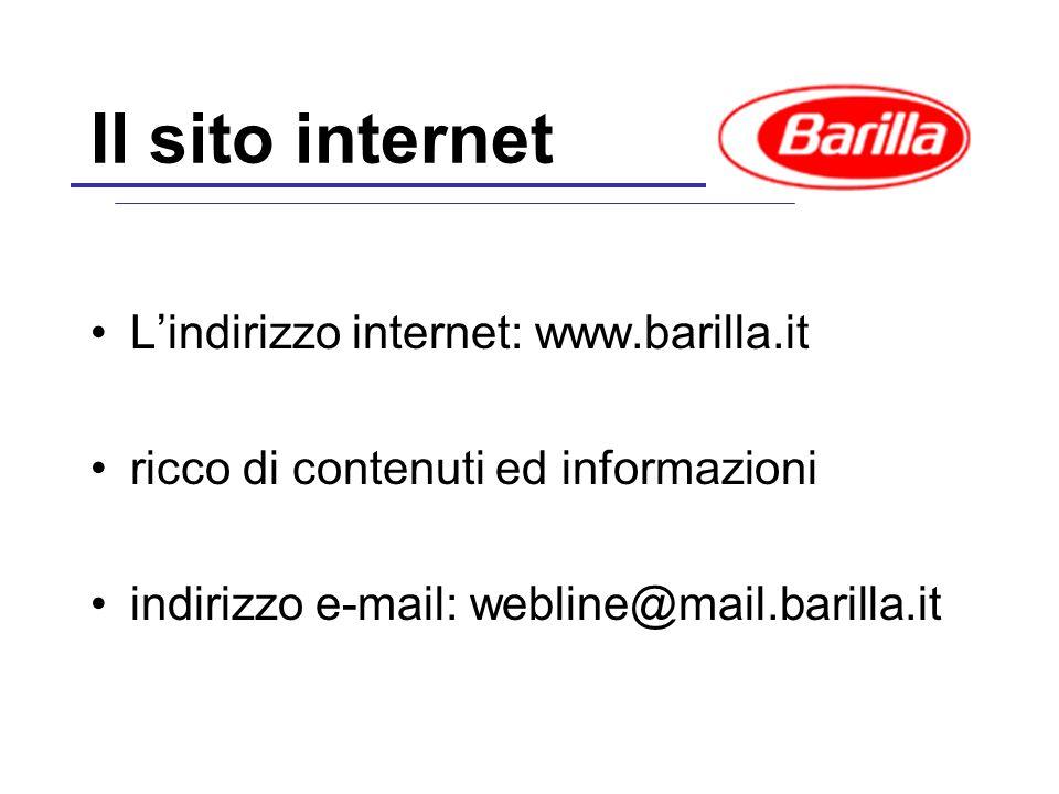 Il sito internet L'indirizzo internet: www.barilla.it