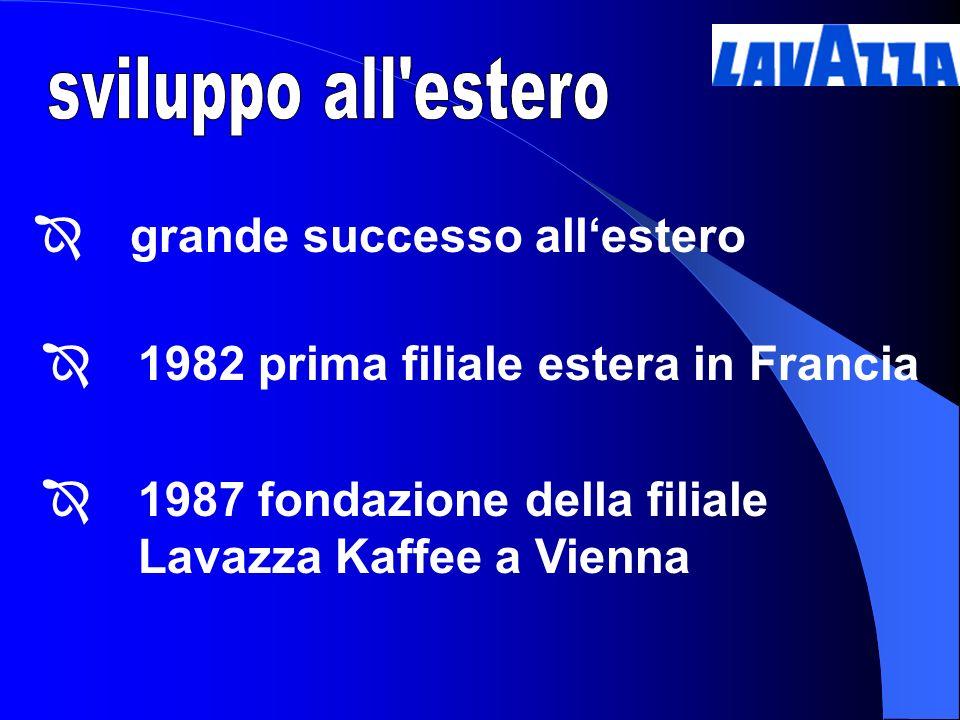 sviluppo all estero 1982 prima filiale estera in Francia. 1987 fondazione della filiale Lavazza Kaffee a Vienna.