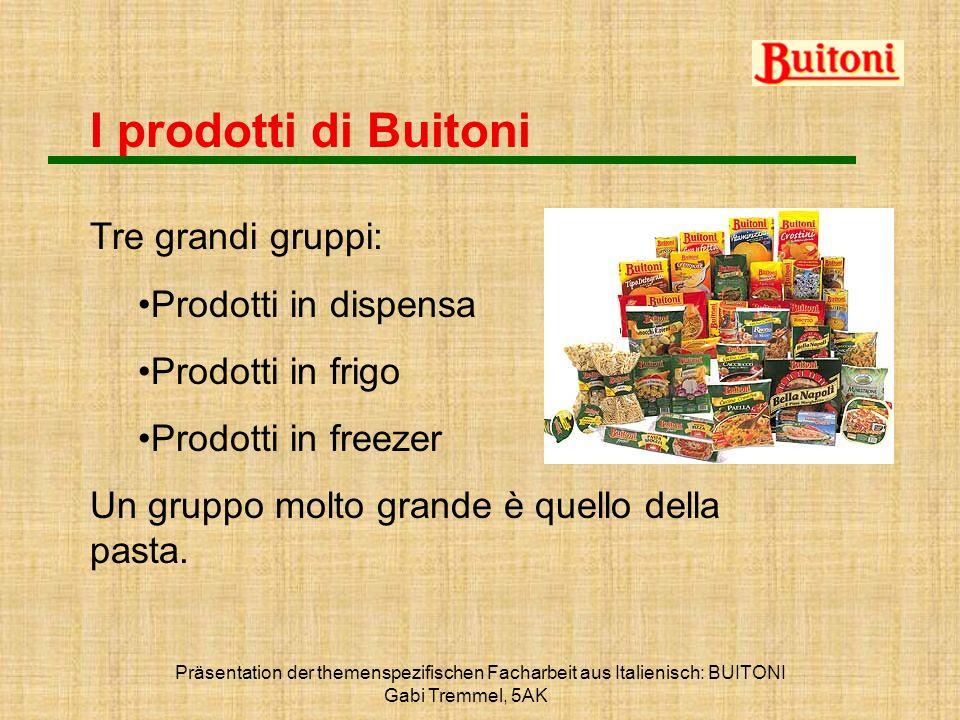 I prodotti di Buitoni Tre grandi gruppi: Prodotti in dispensa