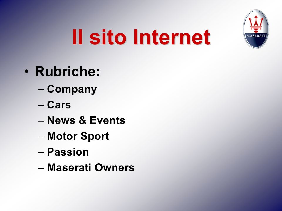 Il sito Internet Rubriche: Company Cars News & Events Motor Sport