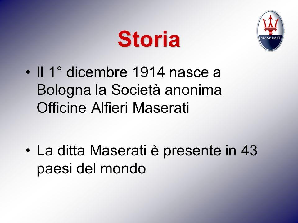 Storia Il 1° dicembre 1914 nasce a Bologna la Società anonima Officine Alfieri Maserati.