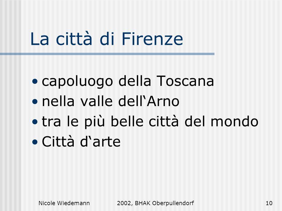 La città di Firenze capoluogo della Toscana nella valle dell'Arno