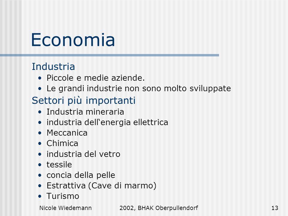 Economia Industria Settori più importanti Piccole e medie aziende.