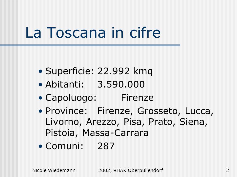 La Toscana in cifre Superficie: 22.992 kmq Abitanti: 3.590.000