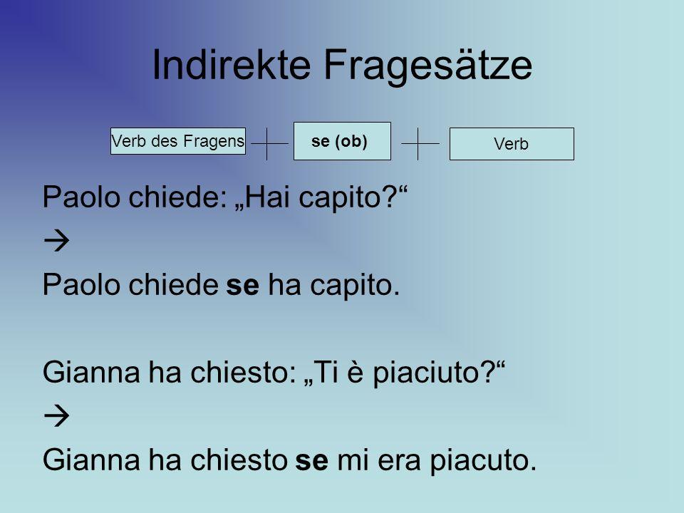 "Indirekte Fragesätze Paolo chiede: ""Hai capito "