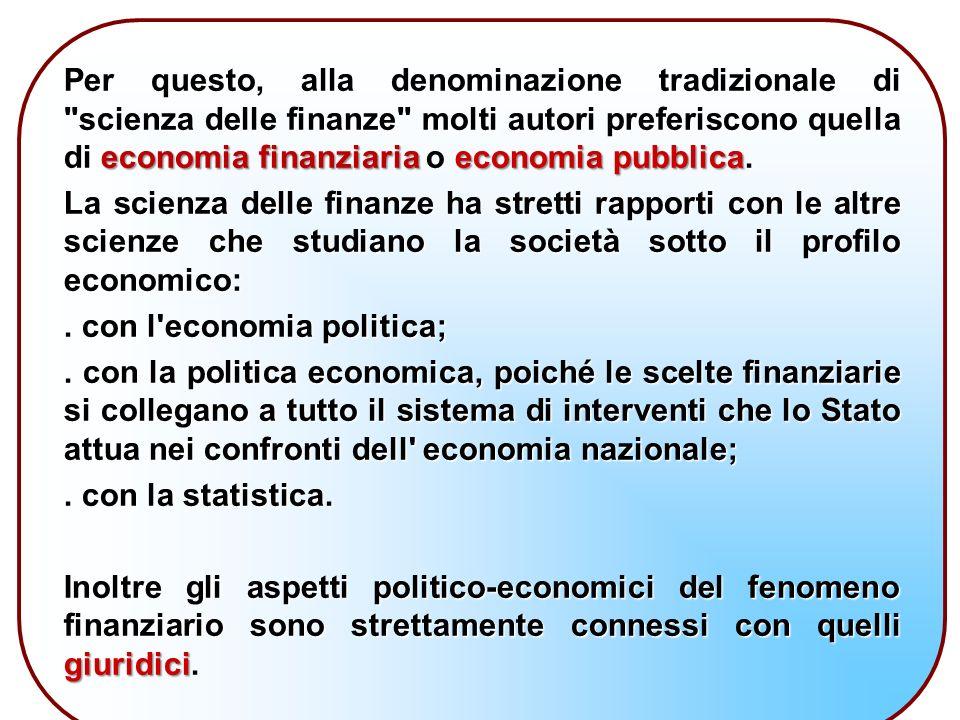 Per questo, alla denominazione tradizionale di scienza delle finanze molti autori preferiscono quella di economia finanziaria o economia pubblica.
