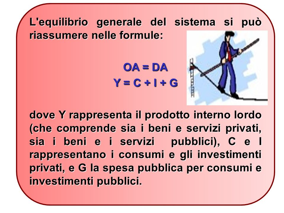 L equilibrio generale del sistema si può riassumere nelle formule: