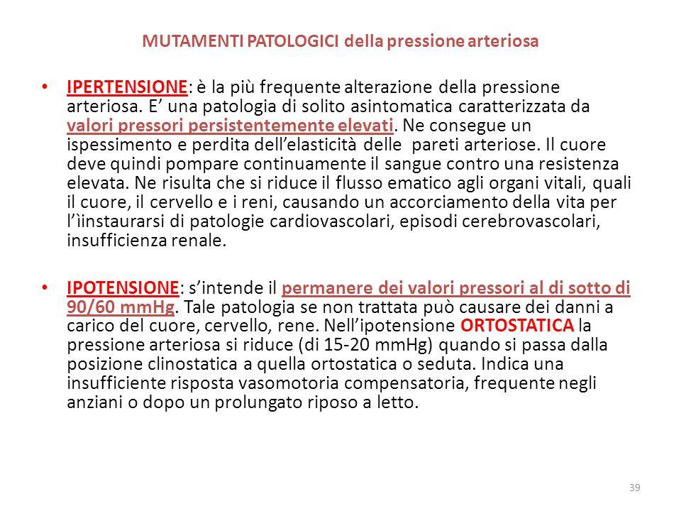 MUTAMENTI PATOLOGICI della pressione arteriosa